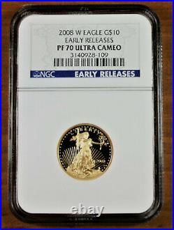 2008-W $10 Gold Eagle Coin PF70 Early Release