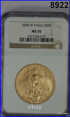 2008 W $50 Gold Eagle Ngc Certified Ms70 Burnished 1oz Gold! #8922