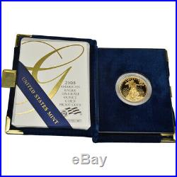 2008-W American Gold Eagle Proof 1/2 oz $25 in OGP