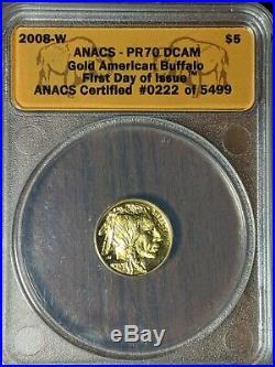 2008-W U. S. $5 GOLD BUFFALO 1/10 ounce ANACS PF70 DEEP CAMEO