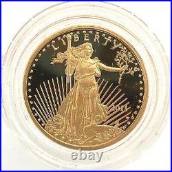 2011 W $10 Gold American Eagle Proof 1/4 OZ Collector Case Box COA US Mint