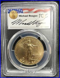 2015 $50 Gold Eagle Michael Reagan PCGS MS70