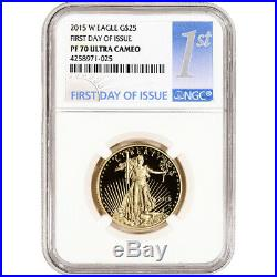 2015-W American Gold Eagle Proof 1/2 oz $25 NGC PF70 First Day Issue 1st Label