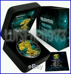 2016 1 Oz silver WALKING LIBERTY Halloween coin USA 24K Gold Gilded