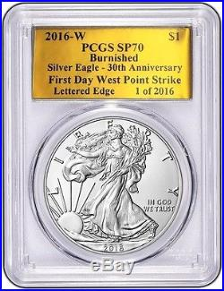 2016 W BURNISHED SILVER EAGLE PCGS SP70 FDWP 30TH ANNIversary GOLD FOIL