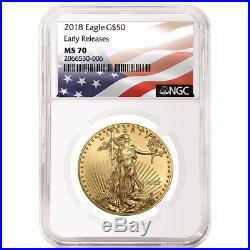 2018 $50 American Gold Eagle 1 oz. NGC MS70 Flag ER Label