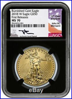 2019 W 1 oz Burnished Gold American Eagle $50 PCGS SP70 FS Flag Label SKU56149