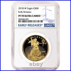 2018-W Proof $50 American Gold Eagle 1 oz NGC PF70UC Blue ER Label