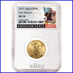 2019 $10 American Gold Eagle 1/4 oz. NGC MS70 Black ER Label