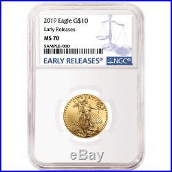 2019 $10 American Gold Eagle 1/4 oz. NGC MS70 Blue ER Label