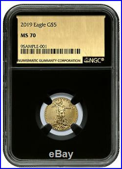 2019 1/10 oz Gold American Eagle $5 NGC MS70 Black Core Gold Foil Label SKU58245