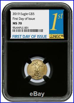 2019 1/10 oz Gold American Eagle $5 NGC MS70 FDI Black Core SKU55944