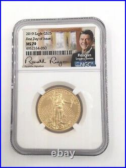 2019 $25 1/2ozt 1st Day MS-70 NGC Ronald Reagan Signed Gold Eagle