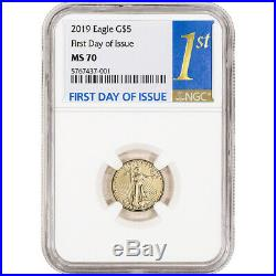 2019 American Gold Eagle 1/10 oz $5 NGC MS70 First Day of Issue 1st Label