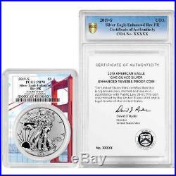 2019-S Enhanced Reverse Proof $1 Silver Eagle / COA # PCGS PR70 FDOI Golden Gate