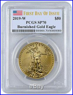 2019 W 1oz Burnished Gold American Eagle $50 PCGS SP70 FDI Flag Label SKU58299
