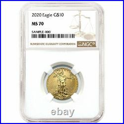 2020 $10 American Gold Eagle 1/4 oz. NGC MS70 Brown Label