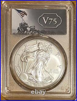 2020 $1 Uncirculated Silver Eagle FIRST STRIKE Gold Shield V75 PCGS MS69