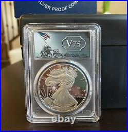 2020 American Silver Eagle WWII 75th V75 PCGS PR70DCAM First Strike/ Gold Shield