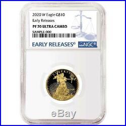 2020-W Proof $10 American Gold Eagle 1/4 oz. NGC PF70UC Blue ER Label