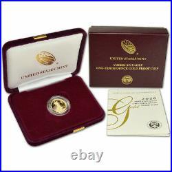2020-W Proof $5 American Gold Eagle 1/10 oz Box OGP & COA