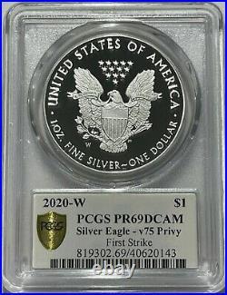 2020 W Silver Eagle Pcgs Pr69 First Strike V75 Privy 75th Ann Fs Gold Shield