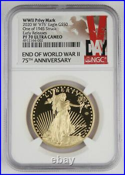 2020 W WWII 75th Anniversary American 1 Oz Gold Eagle V75 NGC PF70 Early Release