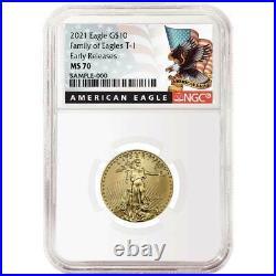 2021 $10 American Gold Eagle 1/4 oz. NGC MS70 Black ER Label