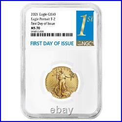 2021 $10 Type 2 American Gold Eagle 1/4 oz. NGC MS70 FDI First Label