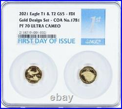 2021 1/10 OZ Gold Set Designer NGC PF70 FDI FDOI American Eagle Ounce TYPE 1 & 2