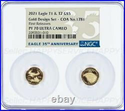 2021 1/10 OZ Gold Set Designer NGC PF70 FR RELEASES American Eagle TYPE 1 & 2 T1
