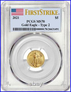 2021 1/10 Oz Gold American Eagle Type 2 First Strike PCGS MS70 NR