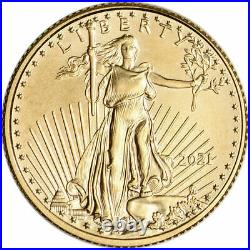2021 1/10 oz Gold American Eagle $5 Coin BU
