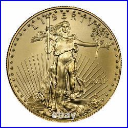 2021 1/10 oz Gold American Eagle T-1 $5 GEM BU