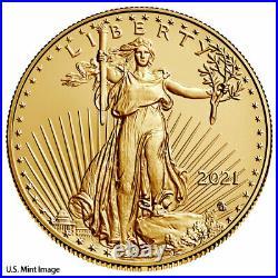 2021 1/10 oz Gold American Eagle Type 2 $5 GEM BU