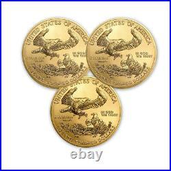 2021 1 oz American Gold Eagle BU (Lot of 3)
