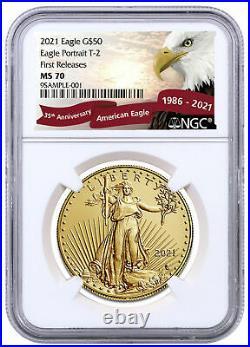 2021 1 oz Gold American Eagle T-2 $50 NGC MS70 FR Eagle Label Red Banner PRESALE