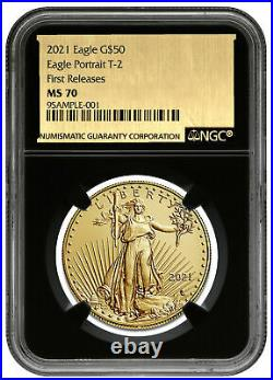 2021 1 oz Gold American Eagle Type 2 $50 NGC MS70 FR BC Gold Foil