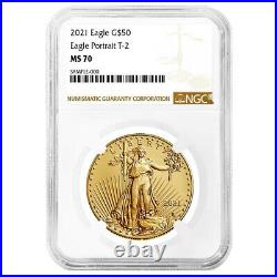 2021 $50 Type 2 American Gold Eagle 1 oz NGC MS70 Brown Label