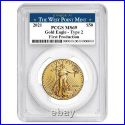 2021 $50 Type 2 American Gold Eagle 1 oz PCGS MS69 First Production West Point L