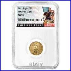 2021 $5 Type 1 American Gold Eagle 1/10 oz NGC MS70 Black Label