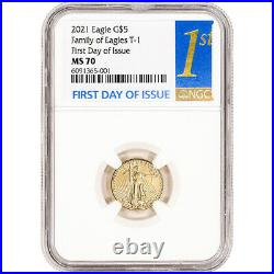 2021 American Gold Eagle 1/10 oz $5 NGC MS70 First Day of Issue 1st Label