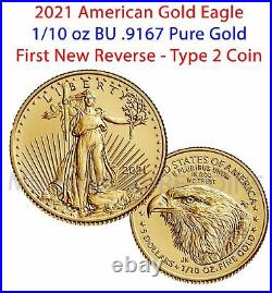 2021 American Gold Eagle 1/10 oz BU Coin Type 2 PRESELL