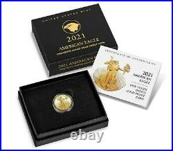 2021 W 1/10 American Eagle One-Tenth Ounce Gold Proof Coin(21EEN)Type 2 IN HAND