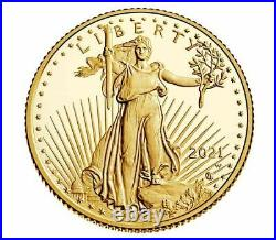 2021-W 1/10 Oz American Eagle One-Tenth Ounce Gold Proof Coin (21EEN) Type 2