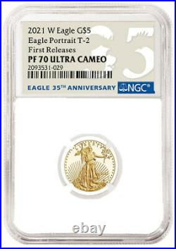2021 W 1/10 oz Proof $5 Gold Eagle NGC PF70 First Releases T2 Type 2- IN HAND