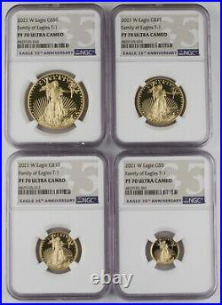2021 W 1.85 Oz Gold American Eagle 4 Coin Proof Set NGC PF70 UC Type 1 -KEY DATE