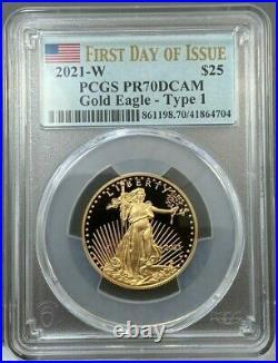 2021-W $25 1/2oz Proof American Gold Eagle Type 1 PCGS PR70 DCAM FDOI