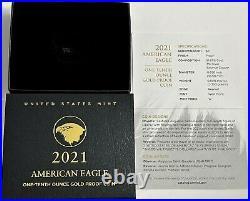 2021 W $5 1/10 Oz Ngc Pf70 Er Ultra Cameo Proof Gold Eagle T-2 W Box Coa Type 2