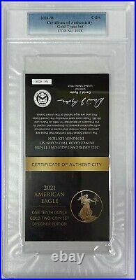 2021-W $5 Gold Eagle Type 1 & 2 Designer Edition With COA PCGS PR70DCAM 2 Coin Set